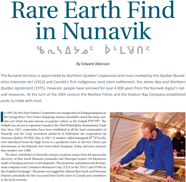 Rare Earth Find in Nunavik...